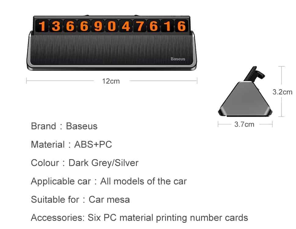 Bảng gắn số điện thoại lên taplo xe hơi Baseus Hermit Temporary