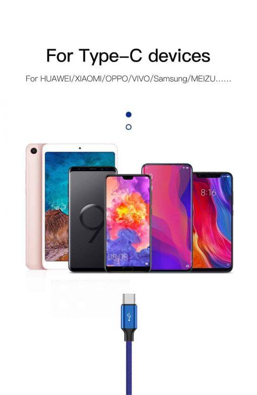 Cáp Baseus chuẩn Type C dài 5m hỗ trợ sạc nhanh Q.C 3.0 cho Samsung, Huawei, Xiaomi, Oppo...