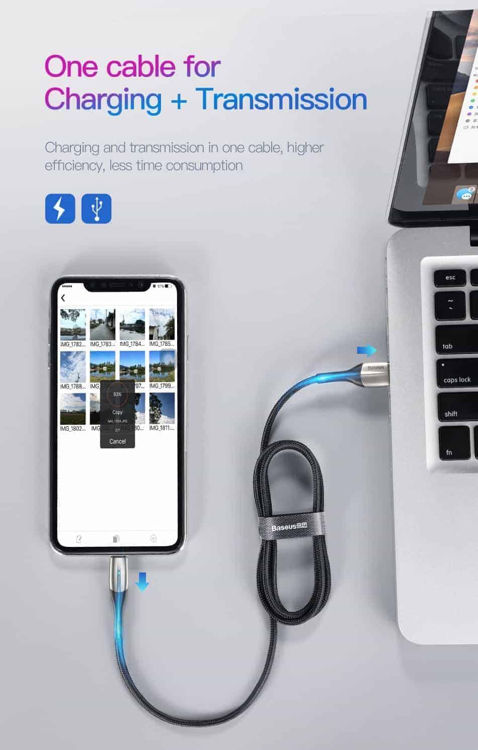 Cáp sạc Baseus dài 2m hỗ trợ sạc nhanh, đèn báo tín hiệu cho iPhone 5/6/7/8/X/Xs 1.5A