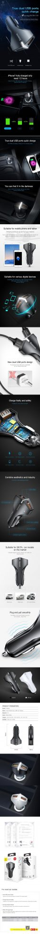 Tẩu sạc Baseus Rocket Dual -USB cho xe ô tô , hỗ trợ sạc nhanh tối đa 18W cho điện thoại iPhone/Samsung/Xiaomi/ Nokia...