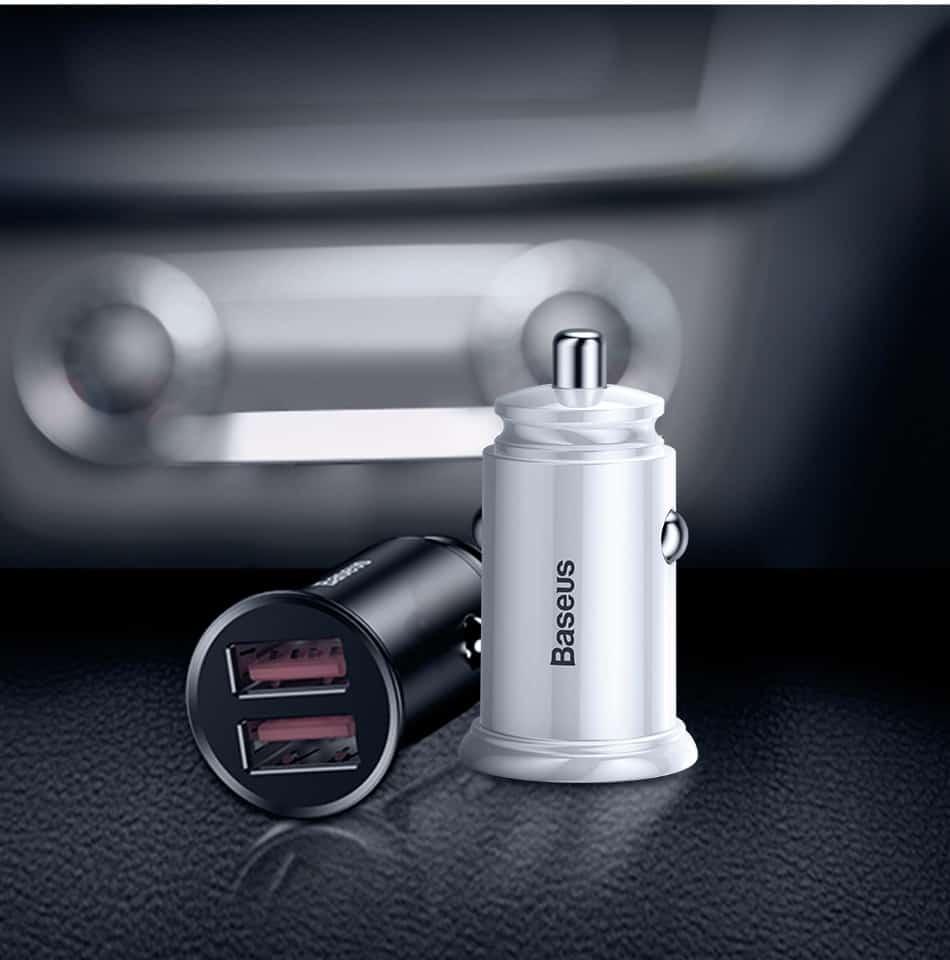 Tẩu sạc trên ô tô Baseus 2 cổng sạc nhanh Q.C 4.0 30W cho điện thoại, máy tính bảng, pin dự phòng