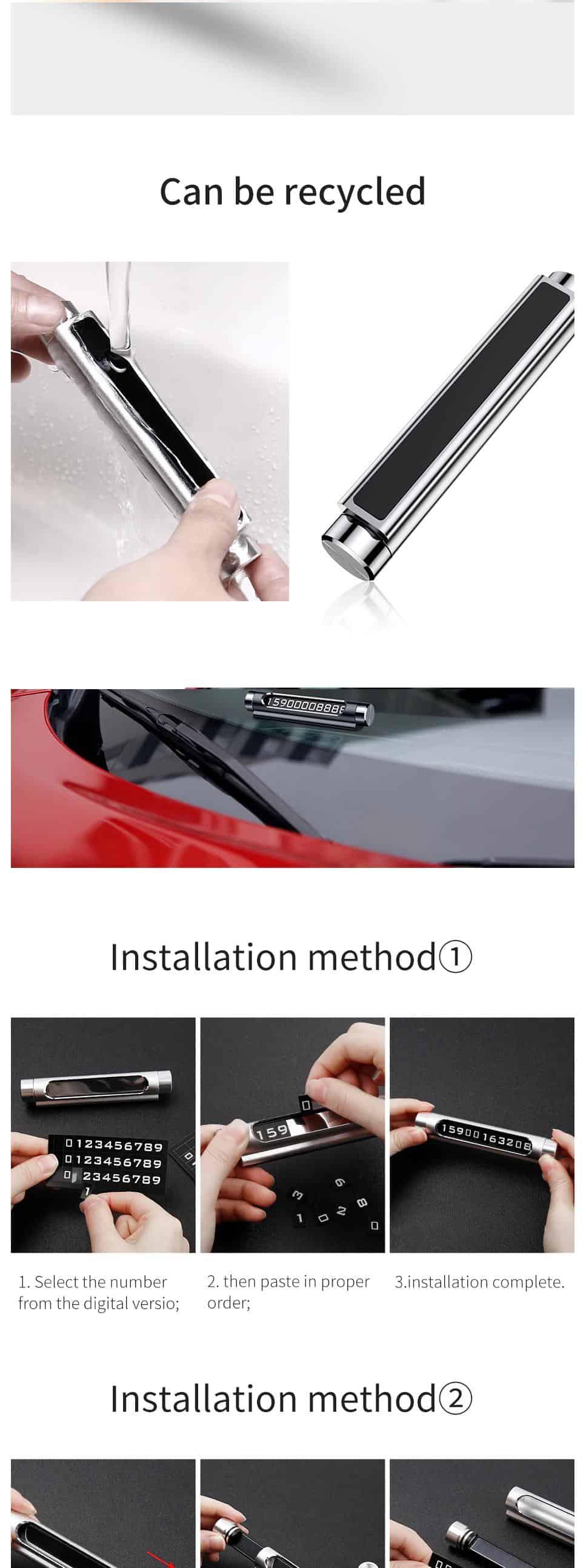 Bảng đậu xe báo số điện thoại cho xe ô tô Baseus Metal Temporary thiết kế kim loại nhôm sang trọng, đặt được 2 dãy số