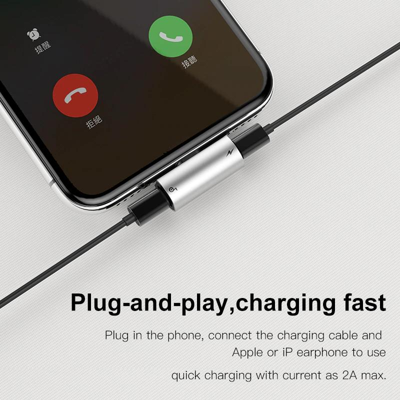 Bộ chia cổng Lightning 1 thành 2 Baseus L46 cho hỗ trợ nghe nhạc , đàm thoại và sạc iPhone/ iPad