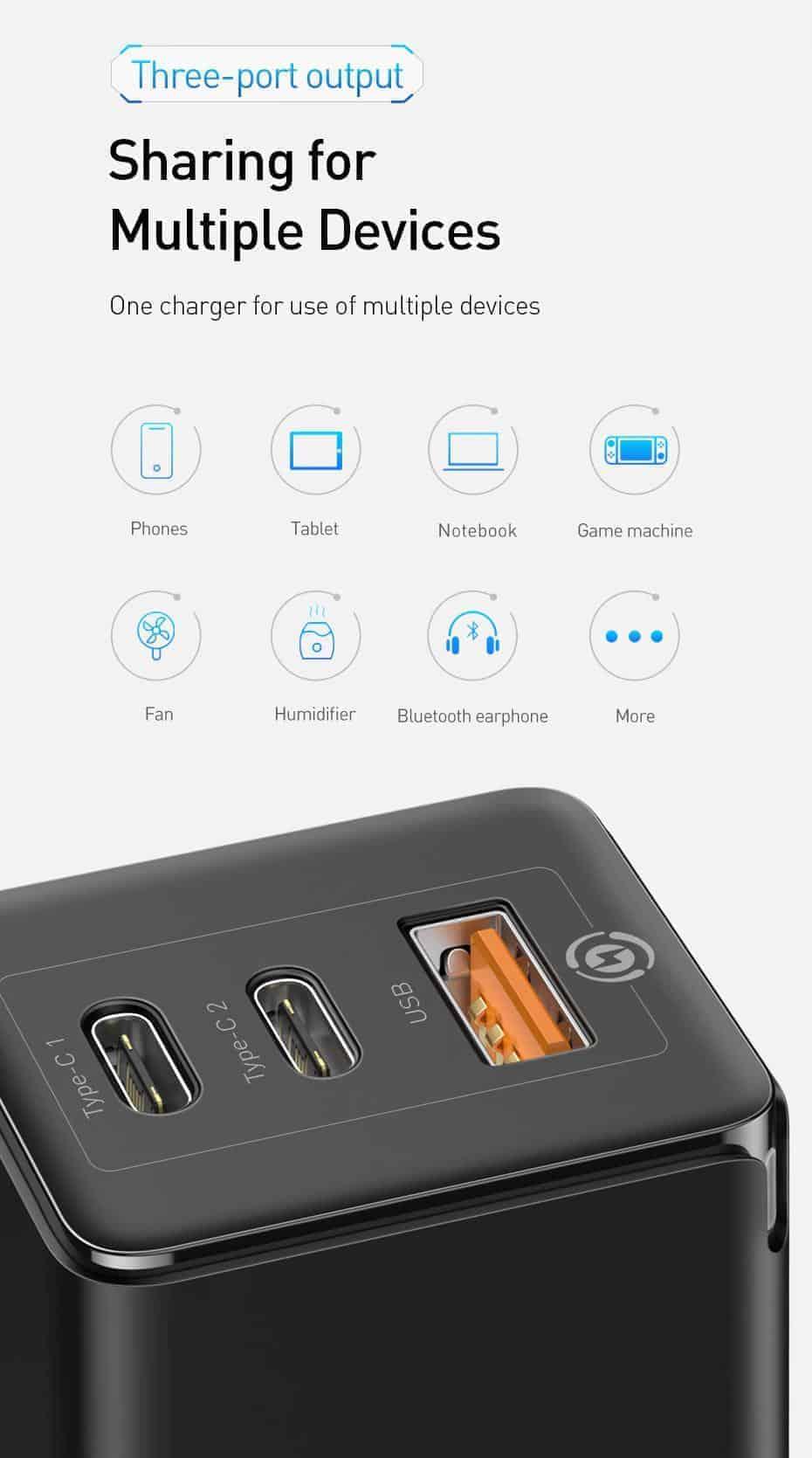 Bộ sạc nhanh Baseus GaN 65W hỗ trợ chuẩn PD , SCP , QC 4.0 , 3.0 cho điện thoại 11 Pro Max , 11 Pro , P30 Pro, Galaxy S10 , Note 10 , Macbook, iPad