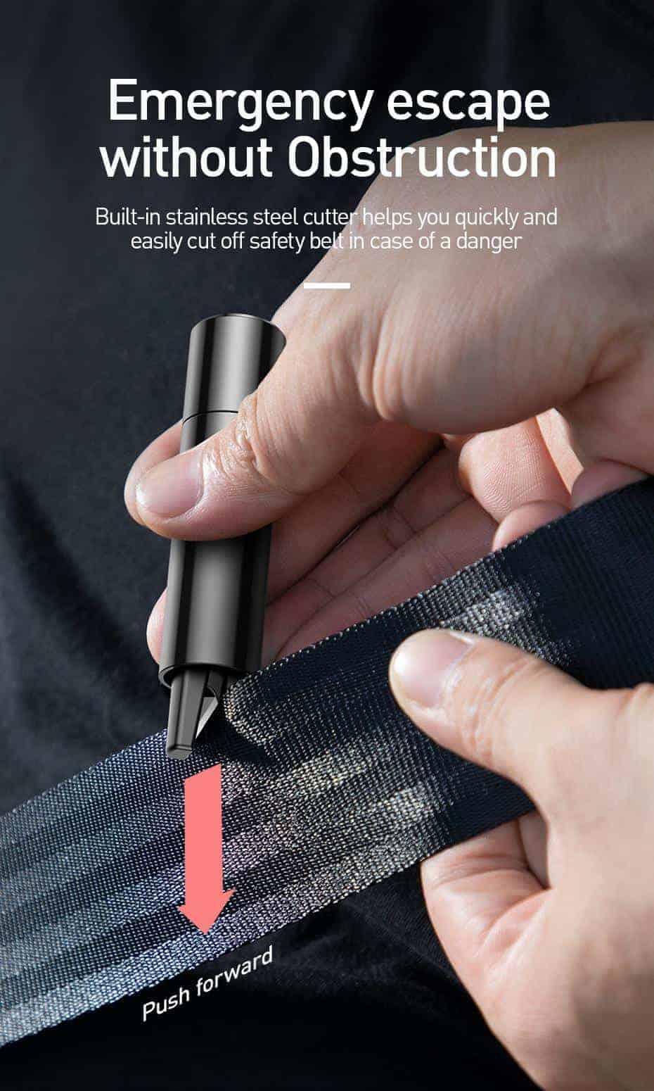 Dụng cụ cắt dây an toàn và phá kính khẩn cấp thương hiệu Baseus 2 in 1 cho xe ô tô