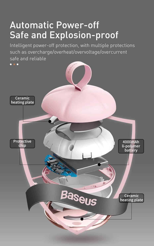 Máy sưởi cầm tay Baseus Spongebob làm ấm tay, mát xa mặt độ ấm 45 đến 55 độ C và sạc điện thoại, dung lượng 4000mAh