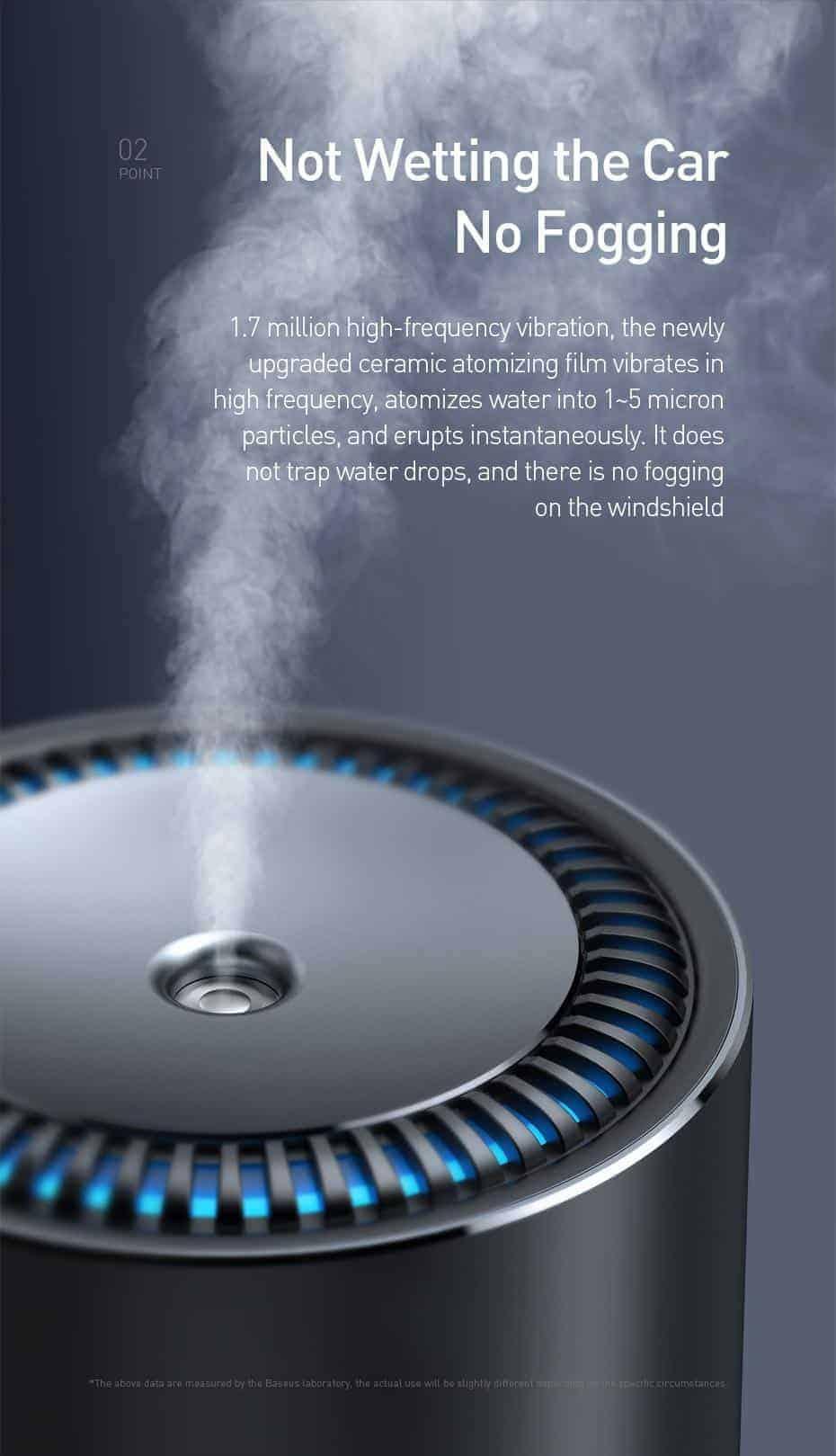 Máy tạo độ ẩm không khí Baseus , thiết kế kim loại sang trọng, thể tích 300ml , làm sạch không khí và tạo độ ẩm cho xe ô tô hoặc văn phòng