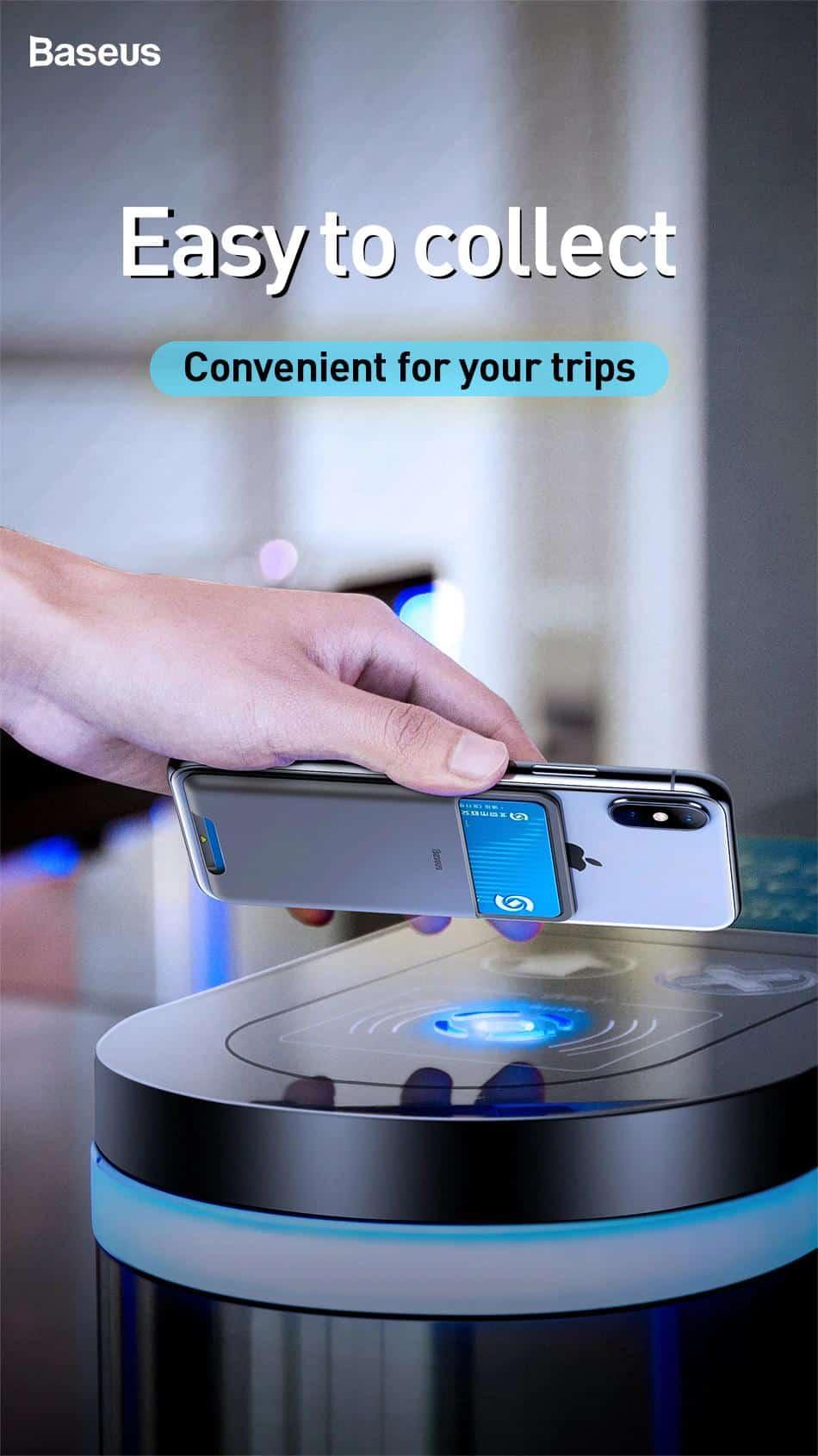 Miếng dán silicone sau lưng điện thoại chứa thẻ card thương hiệu Baseus