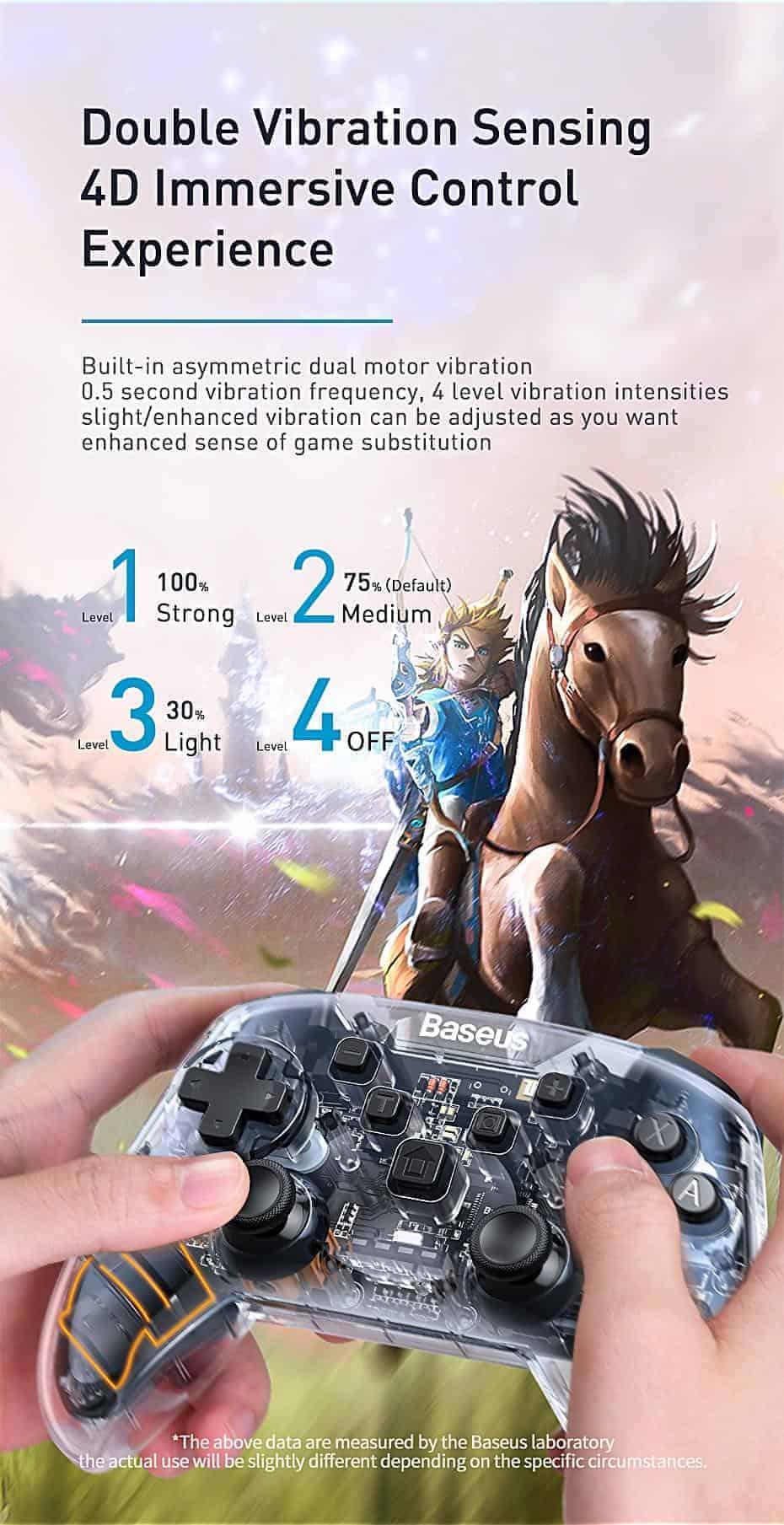 Tay cầm chơi game Baseus Gamo kết nối không dây , cảm biến chuyển động và rung 4D cho PC và Nitendo Switch