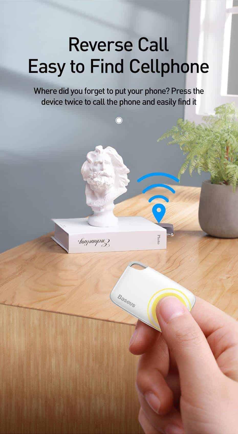 Thiết bị theo dõi thông minh hai chiều Baseus Smart Tracker T1 kết nối Bluetooth chống mất đồ, định vị GPS