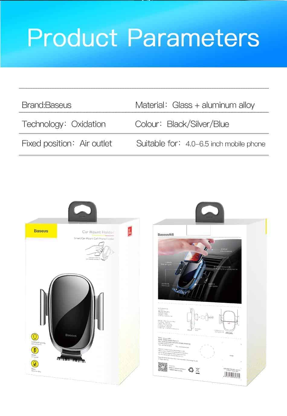 Giá đỡ điện thoại Baseus Smart Car tích hợp cảm biến tự động khóa giữ thiết kế kim loại và kinh sang trọng cho điện thoại từ 4.7 đến 6.5 inch