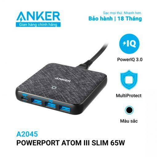 Sạc ANKER 4 cổng PowerPort Atom III Slim
