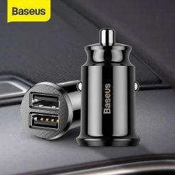 Tẩu Sạc Baseus Ô Tô Mini Kép 2 Cổng USB 4.8A, Sạc Nhanh Cho Điện Thoại