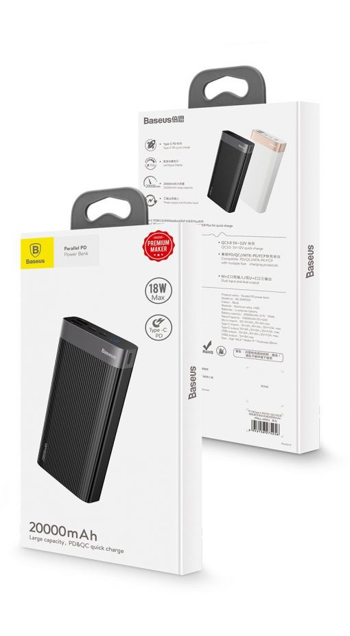 Pin dự phòng Baseus Parallel PD 20000mAh sạc nhanh QC 3.0 PD 18W cho điện thoại và máy tính bảng
