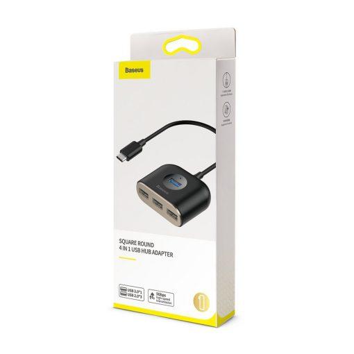 USB Hub Baseus Square Round 4 in 1 mở rộng kết nối cho PC, máy tính bảng và smartphone với Type C / USB ra 5 cổng gồm USB 2.0, USB 3.0, Micro USB