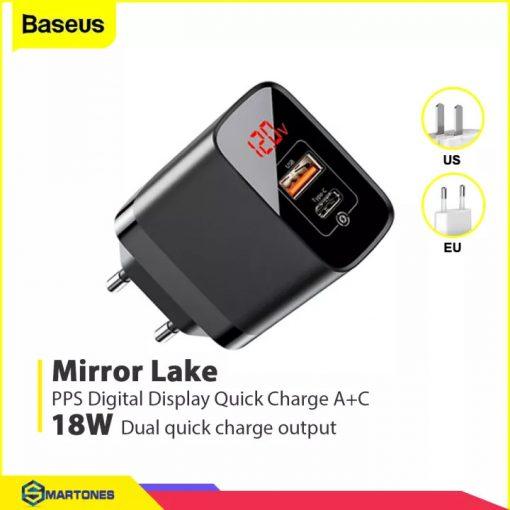 Củ sạc Baseus Mirror Lake sạc nhanh 18W , cổng Type C chuẩn sạc PD và USB Q.C 3.0, đèn Led báo dòng điện cho iPhone, Android, Tablet